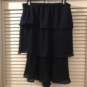 Parker Pants - NWT PARKER Night Blue Ruffle Strapless Romper SM